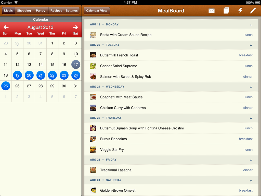 MealBoard Meal Planning App (List View)