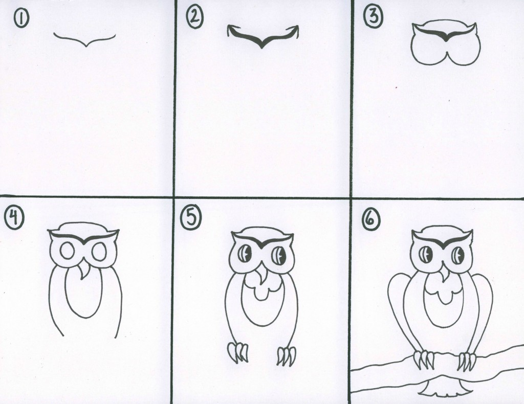 Drawing with kids whimsical owl project by for Draw an owl in two steps