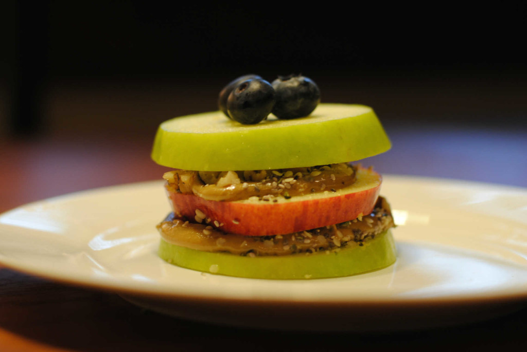 Apple Sandwich with Blueberries, Chia and Hemp on Sunbutter